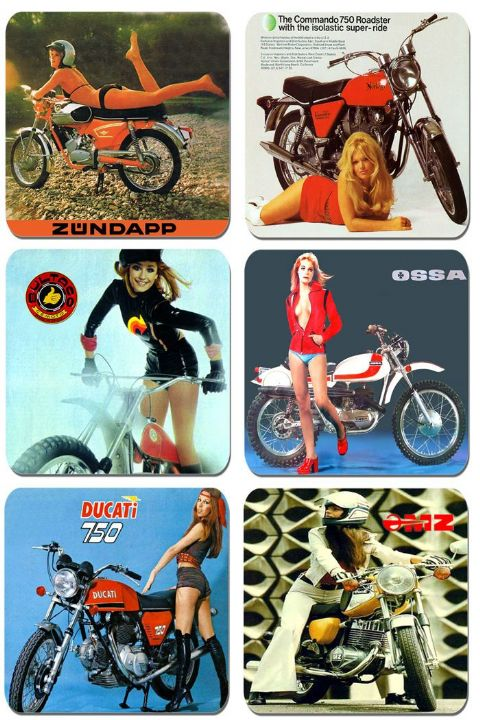 Seventies European Motorcycle Advert Coasters Set Of 6. Motorbikes Classic Bike
